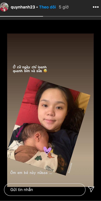 """""""Công chúa béo"""" Quỳnh Anh khoe mặt mộc sau khi sinh, lập hẳn Instagram cho bé Ú ảnh 1"""