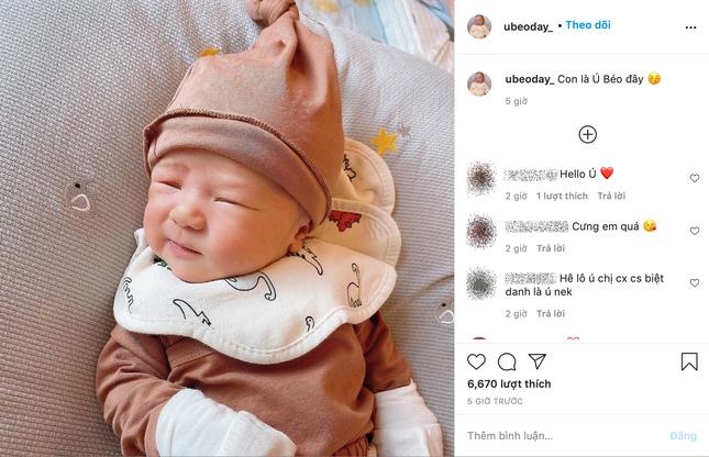 """""""Công chúa béo"""" Quỳnh Anh khoe mặt mộc sau khi sinh, lập hẳn Instagram cho bé Ú ảnh 4"""