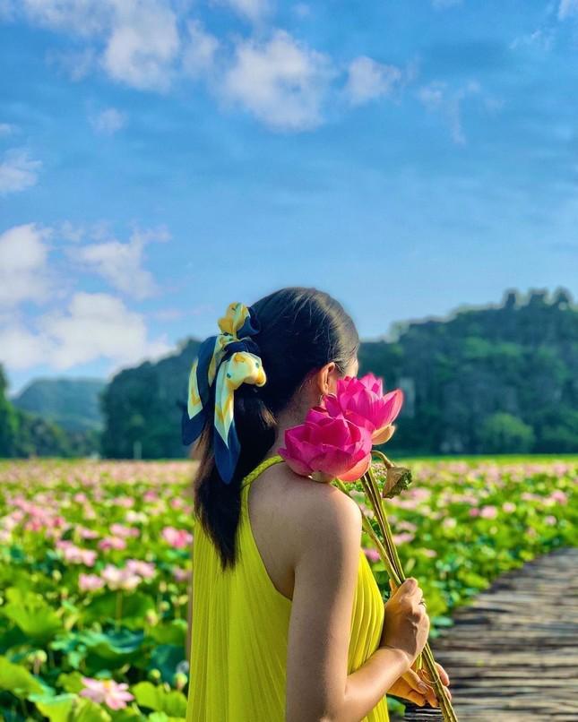 """Ngỡ ngàng hồ sen nở rộ giữa Thu ở Hang Múa (Ninh Bình), giới trẻ tha hồ chụp ảnh """"sống ảo"""" ảnh 3"""