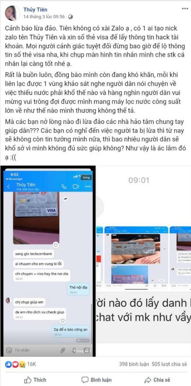 Xuất hiện tài khoản Facebook giả mạo ca sĩ Thủy Tiên để lừa đảo quyên góp tiền cứu trợ ảnh 5