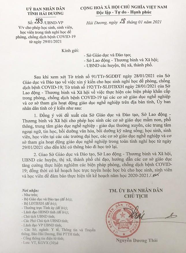 Học sinh, sinh viên tỉnh Hải Dương nghỉ học từ mai 29/1, TP Chí Linh giãn cách xã hội ảnh 1