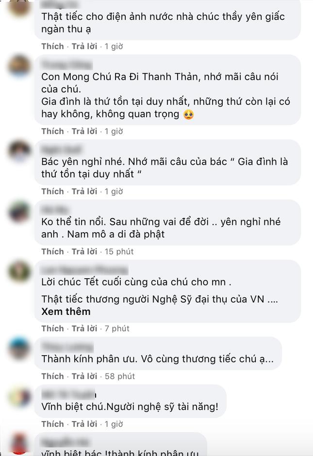 Người hâm mộ và nhiều nghệ sĩ bày tỏ sự tiếc thương tại trang Facebook của cố NSND Hoàng Dũng ảnh 7