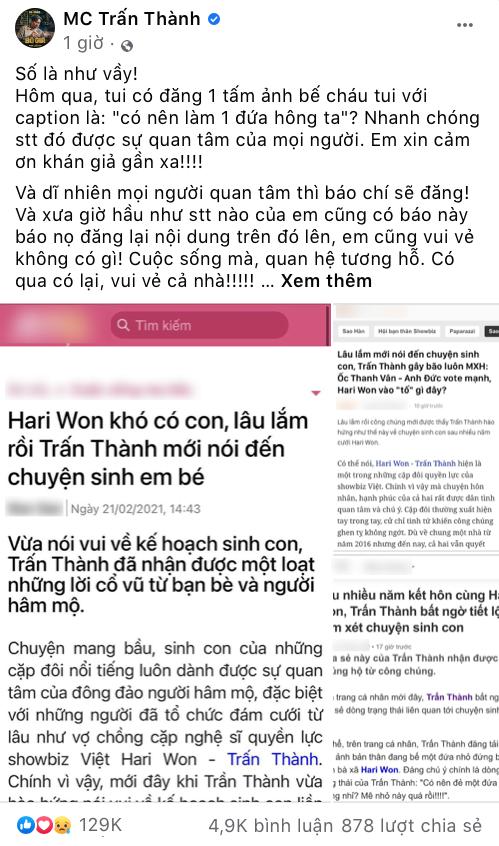 """MC Trấn Thành lên tiếng bảo vệ Hari Won: """"Bài viết sai sự thật, gây tổn thương tinh thần vợ tôi"""" ảnh 2"""
