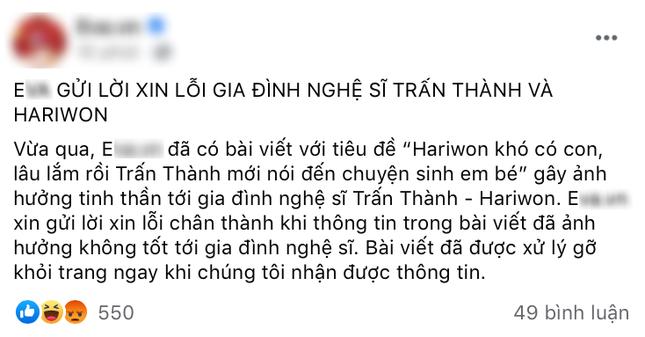 """MC Trấn Thành lên tiếng bảo vệ Hari Won: """"Bài viết sai sự thật, gây tổn thương tinh thần vợ tôi"""" ảnh 3"""
