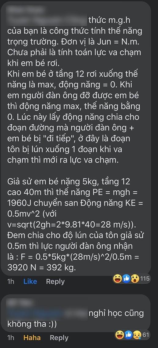 Từ vụ bé gái rơi từ tầng 12 chung cư tại Hà Nội: Dân mạng giải bài toán về lực tác động ảnh 5