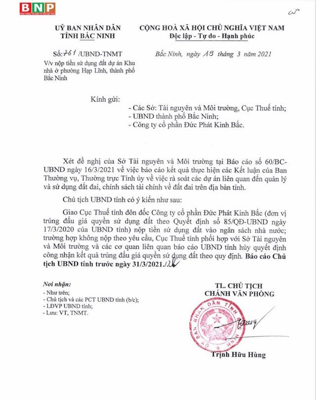 Bắc Ninh thu lại đất đấu giá dự án nhà ở 'chây ì' nộp tiền sử dụng đất ảnh 1