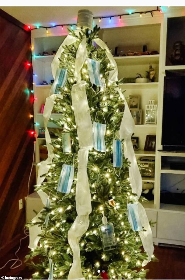 Treo khẩu trang, giấy vệ sinh lên cây thông Noel vì 'ám ảnh' với COVID-19 ảnh 8