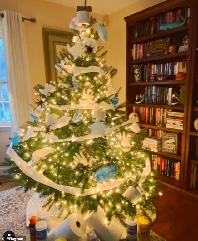 Treo khẩu trang, giấy vệ sinh lên cây thông Noel vì 'ám ảnh' với COVID-19 ảnh 6