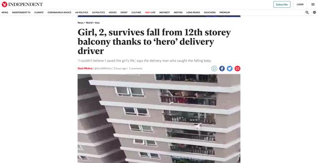 'Người hùng' cứu bé gái rơi từ tầng 12 ở Hà Nội lên báo Anh ảnh 1