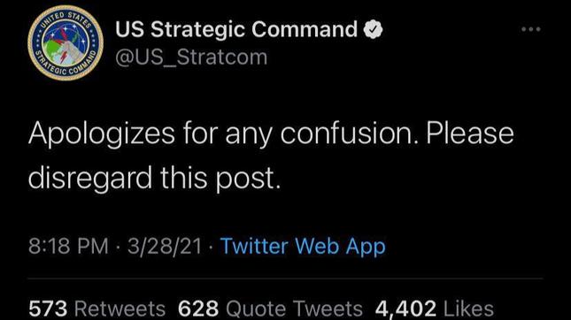 Cộng đồng Twitter hoảng loạn vì dòng 'mật mã' bí ẩn của Bộ Tư lệnh Mỹ ảnh 1