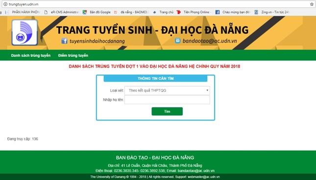 ĐH Đà Nẵng công bố điểm trúng tuyển năm 2018 ảnh 4