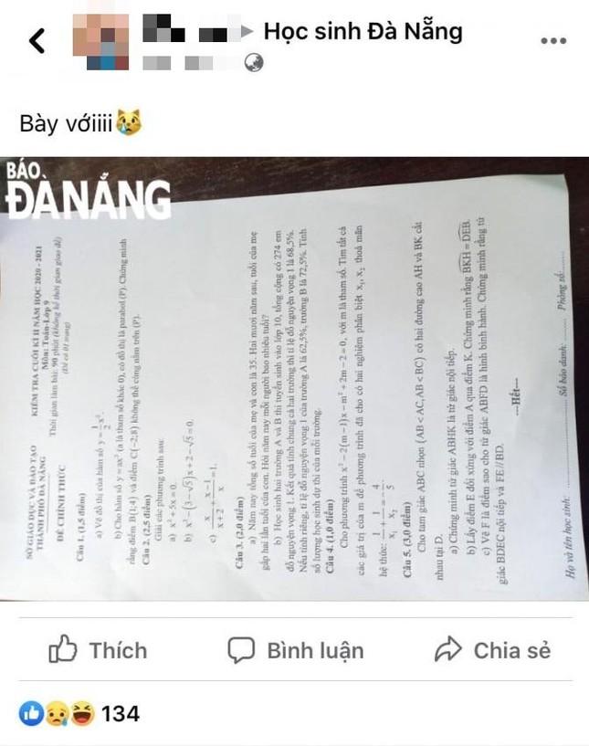 """Gặp """"bí"""" khi thi Toán cuối học kỳ, học sinh đăng toàn bộ đề thi lên Facebook cầu cứu ảnh 1"""