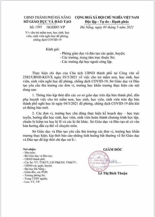 Đà Nẵng cho học sinh, sinh viên ngừng đến trường từ ngày 4/5, tạm dừng nhiều hoạt động ảnh 1