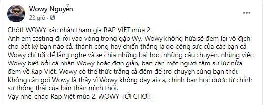 NÓNG: Wowy xác nhận tiếp tục làm HLV Rap Việt nhưng không hứa tái lập kỳ tích như mùa 1 ảnh 2