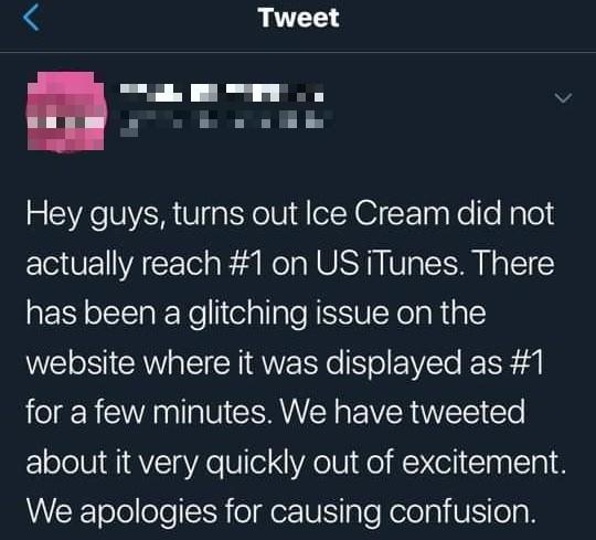 """Thành tích """"Ice Cream"""" sau 12 giờ: Tung hoành YouTube nhưng khiến fan mừng hụt ở iTunes ảnh 5"""
