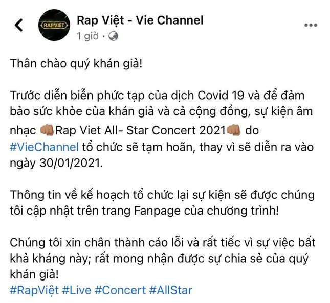 """Ngay trước đêm diễn, """"Rap Việt: All-Star Live Concert 2021"""" thông báo tạm hoãn vì dịch ảnh 2"""