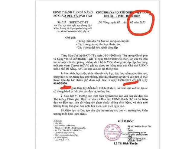 Đà Nẵng: Xuất hiện thông báo giả mạo cho học sinh nghỉ Tết sớm để chống dịch COVID-19 ảnh 1
