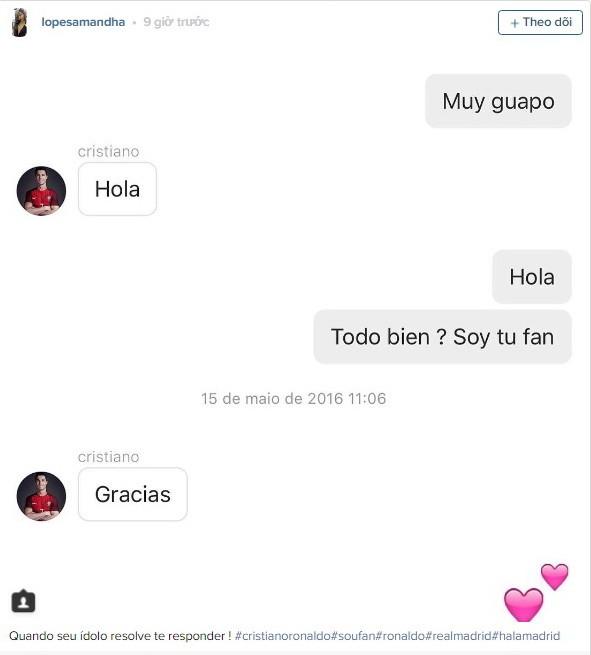 Nữ sinh bất ngờ nổi như cồn nhờ đoạn chat với Ronaldo ảnh 1