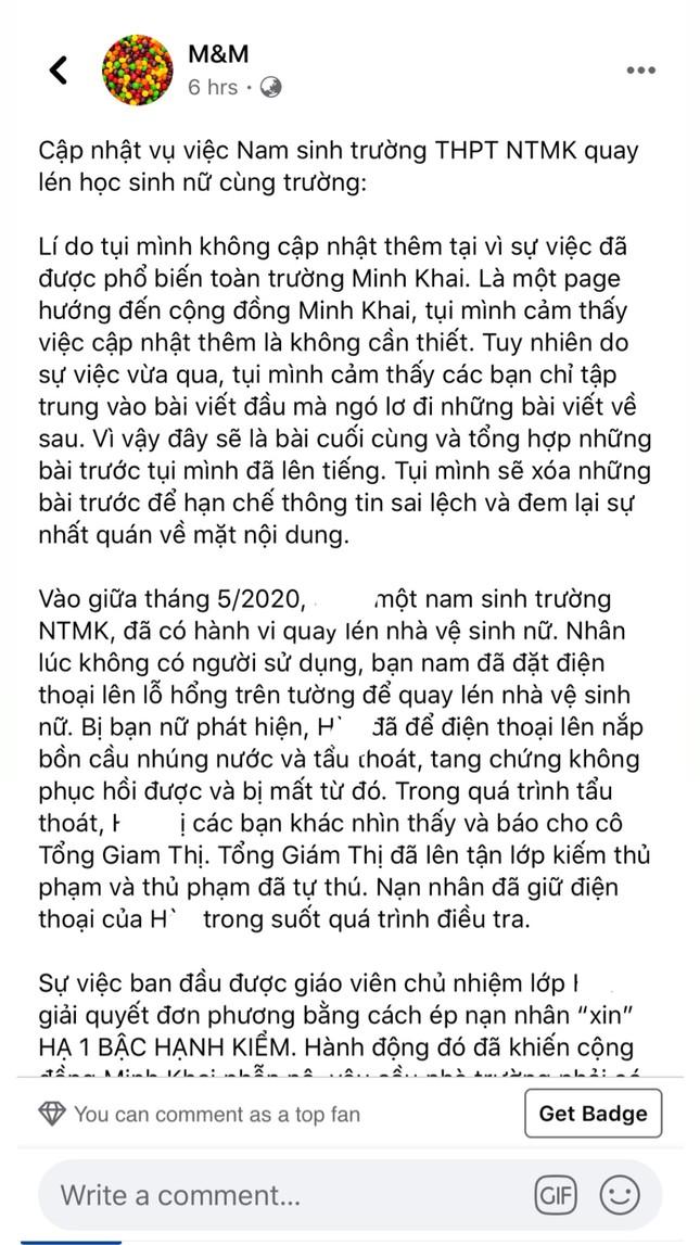 Sự việc quay lén WC nữ trường THPT Nguyễn Thị Minh Khai: Nạn nhân và thủ phạm lên tiếng ảnh 2