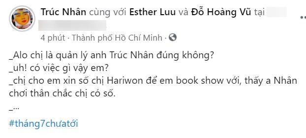"""Quản lý của Hari Won """"dở khóc dở cười"""" khi có người nhắn tin nhưng lại hỏi về... Trúc Nhân ảnh 3"""