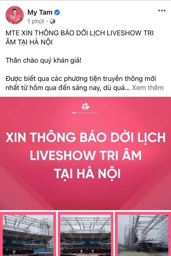"""Vừa thành công ở TP.HCM, Mỹ Tâm phải thông báo dời liveshow """"Tri Âm"""" ở Hà Nội ảnh 1"""