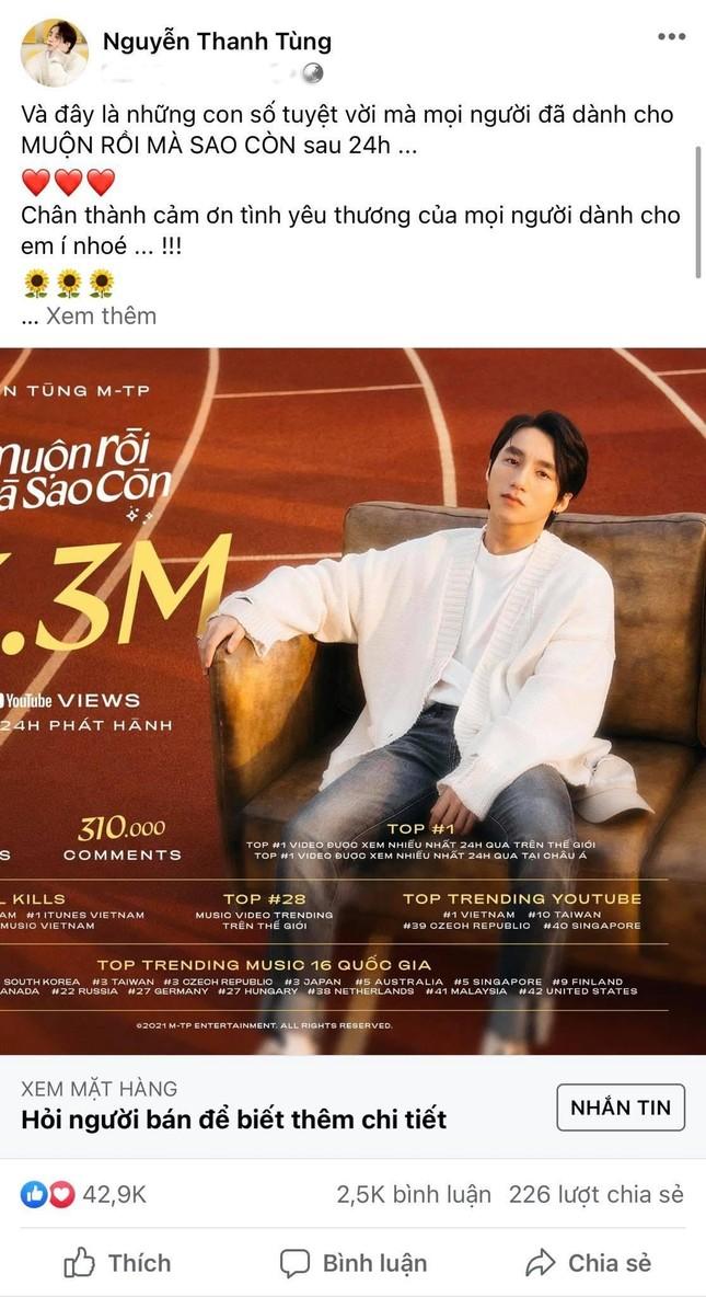 Sơn Tùng M-TP khoe thành tích của MV mới nhưng fan lại hỏi... giá mặt hàng? ảnh 1