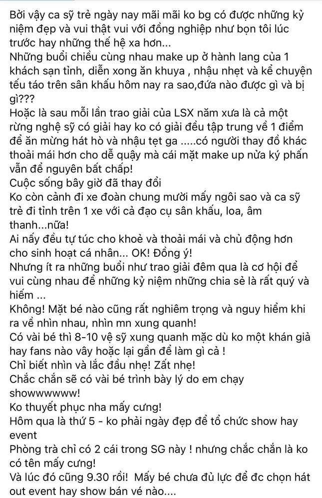 """Đàm Vĩnh Hưng viết """"tâm thư"""" gửi những nghệ sĩ trẻ bỏ về sớm tại giải Làn Sóng Xanh ảnh 3"""