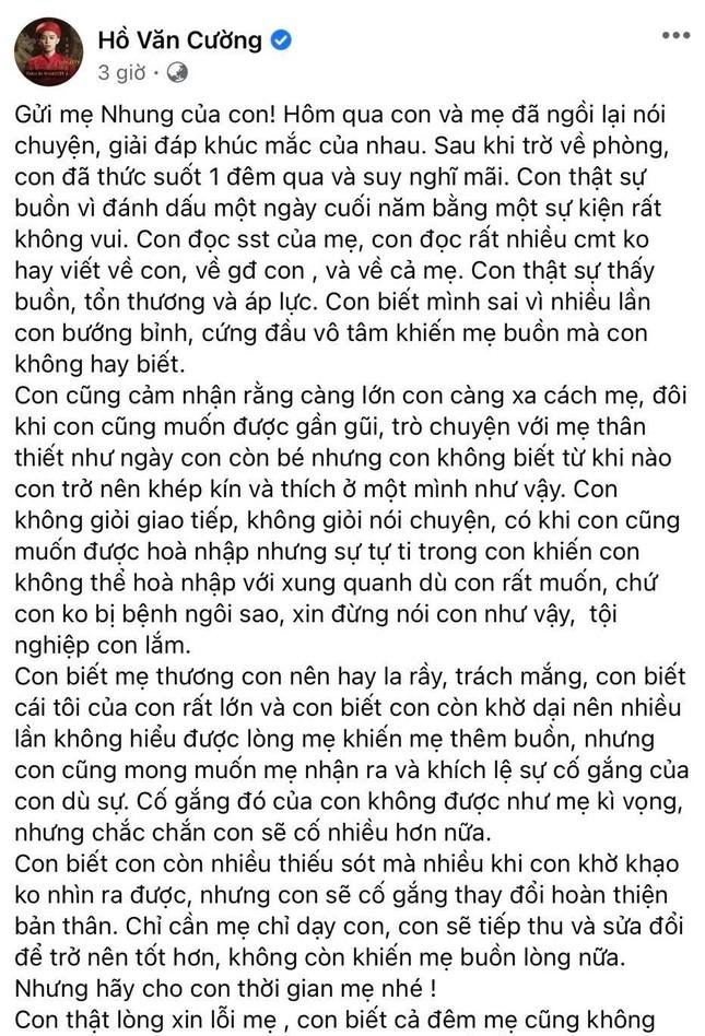 Hồ Văn Cường xin lỗi Phi Nhung, khẳng định không mắc bệnh ngôi sao như mẹ nuôi nghĩ ảnh 1
