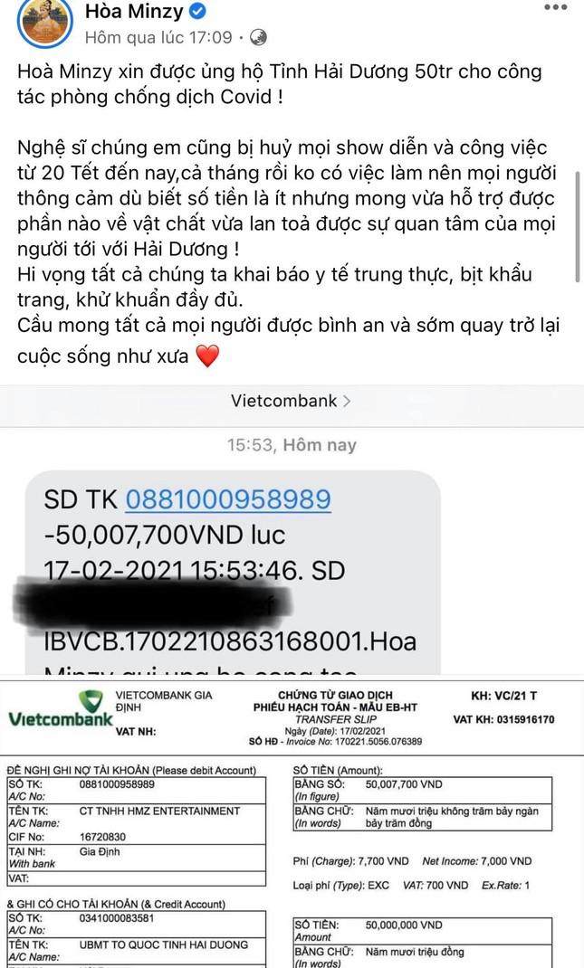 Hòa Minzy quyên góp 50 triệu đồng cho tỉnh Hải Dương phòng chống dịch COVID-19 ảnh 1