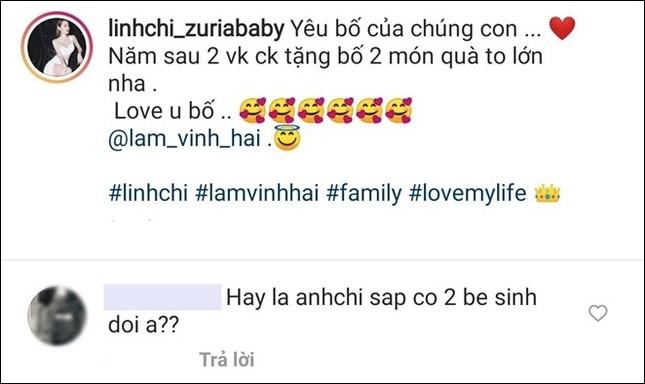 """Linh Chi úp mở """"hai món quà"""" tặng Lâm Vinh Hải, netizen đồn đoán """"đang mang thai đôi""""? ảnh 2"""