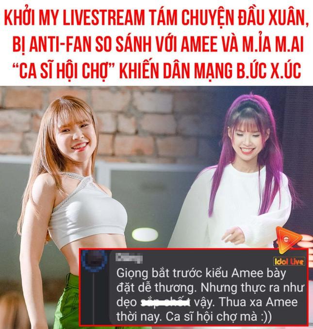 """Anti-fan tiếp tục cố tình gây hấn gọi Khởi My là """"ca sĩ hội chợ"""", giọng hát bắt chước AMEE ảnh 1"""