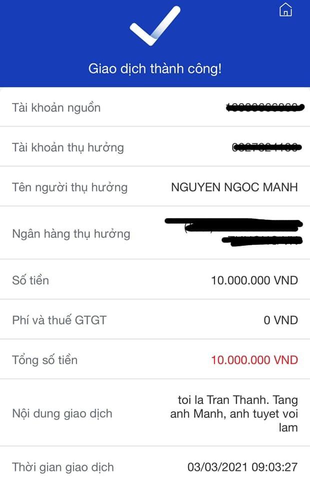 """Trấn Thành chuyển """"nóng"""" 10 triệu đồng, Việt Hương ca ngợi hết lời anh Nguyễn Ngọc Mạnh ảnh 2"""