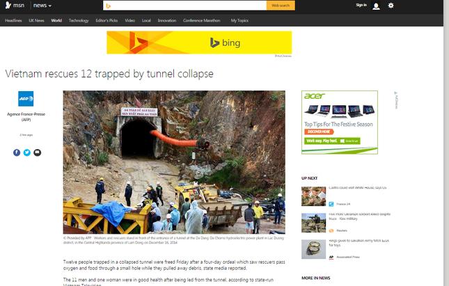 Báo nước ngoài đưa tin về cuộc giải cứu nạn nhân sập hầm ảnh 3