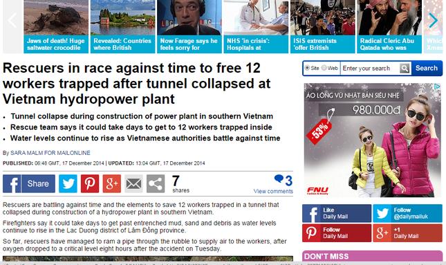 Báo nước ngoài đưa tin về cuộc giải cứu nạn nhân sập hầm ảnh 5