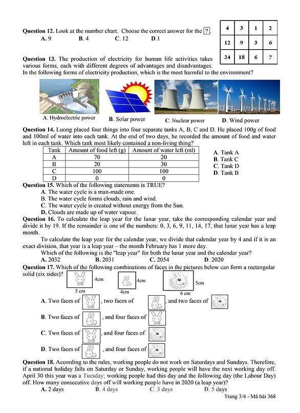 Công bố đề và đáp án bài khảo sát năng lực vào lớp 6 Chuyên Trần Đại Nghĩa ảnh 5