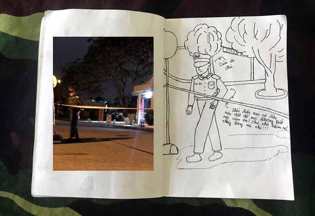Xúc động tranh vẽ 14 ngày cách ly trong doanh trại của cô gái 18 tuổi ảnh 13