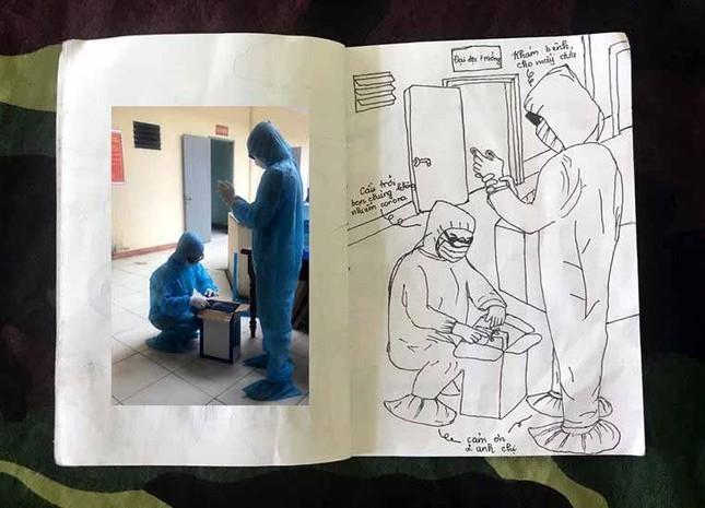 Xúc động tranh vẽ 14 ngày cách ly trong doanh trại của cô gái 18 tuổi ảnh 16