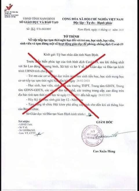 Nam Định truy vết công văn giả mạo cho học sinh nghỉ học sau Tết ảnh 1