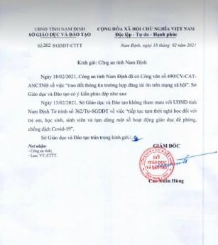 Nam Định truy vết công văn giả mạo cho học sinh nghỉ học sau Tết ảnh 2