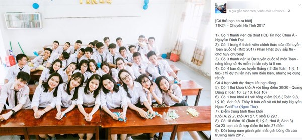 Lớp học có 1 thủ khoa khối A 30 điểm, 27 học sinh còn lại đều trên 27 điểm ảnh 1