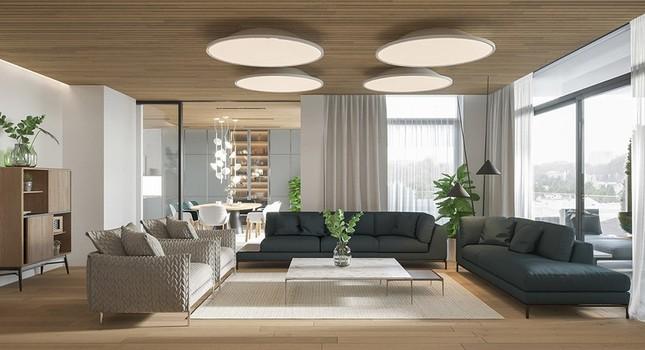 Căn hộ chung cư đẹp mỹ mãn nhờ nội thất gỗ biến tấu ảnh 1