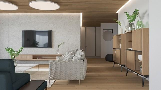 Căn hộ chung cư đẹp mỹ mãn nhờ nội thất gỗ biến tấu ảnh 2