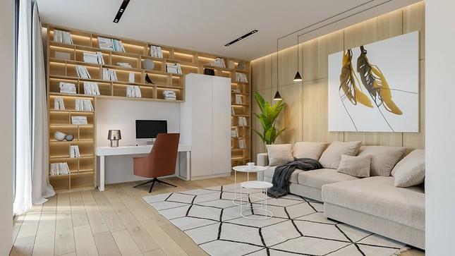 Căn hộ chung cư đẹp mỹ mãn nhờ nội thất gỗ biến tấu ảnh 3