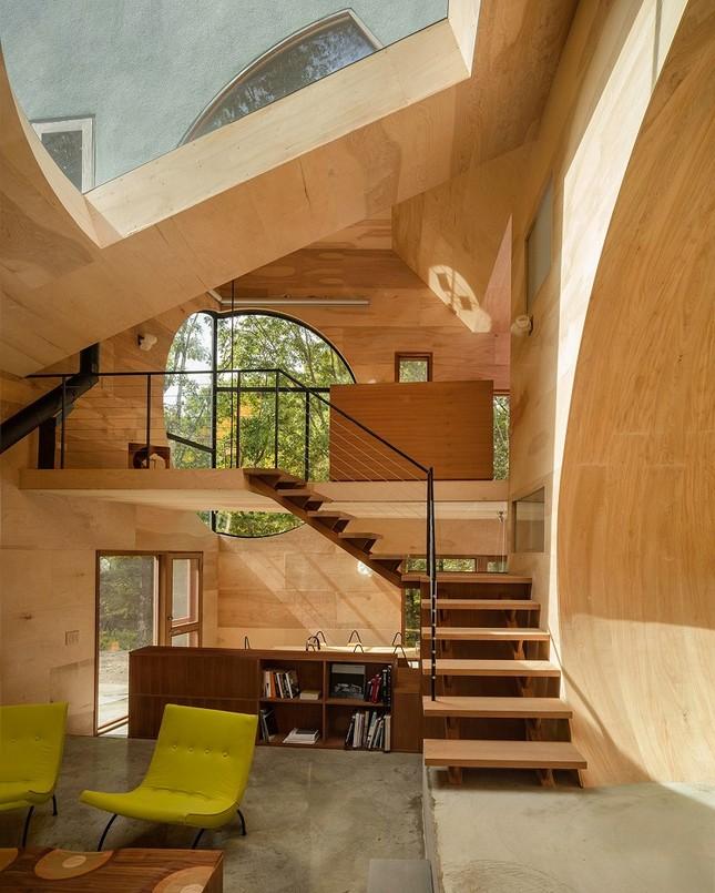 Nhà gỗ hình thang giữa rừng với cửa độc đáo đẹp hút mắt ảnh 2