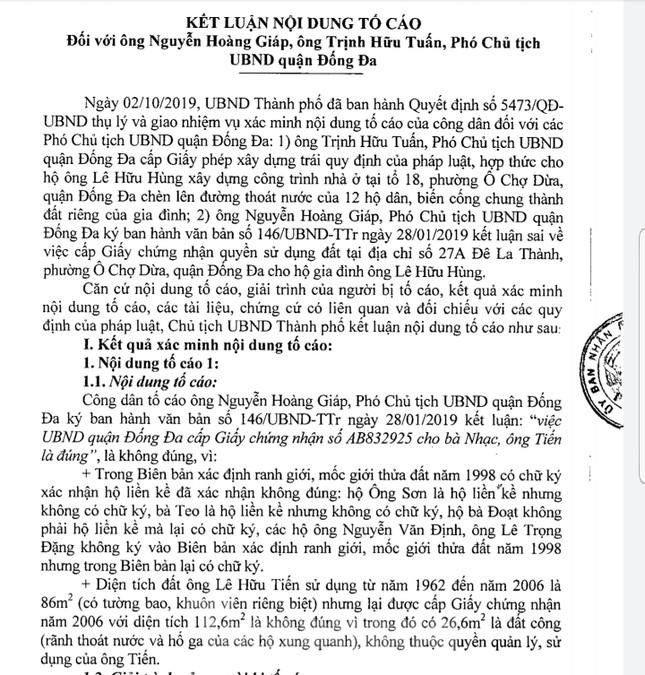 Vụ chết vẫn xác nhận đất đai ở Hà Nội: 2 phó Chủ tịch quận bị nhắc nhở ảnh 1