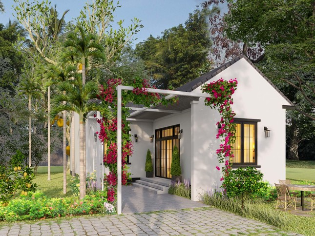 Ba chị em gái ở Bình Định xây nhà cấp 4 tuyệt đẹp tặng bố mẹ - Ảnh 1.