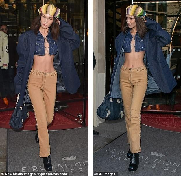 Bella Hadid mặc áo siêu ngắn hở gần hết thân trên, sang chảnh ăn đứt chị gái ảnh 4