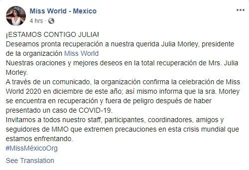 Bà Julia Morley - Chủ tịch Hoa hậu Thế giới dương tính với Covid-19 ảnh 1