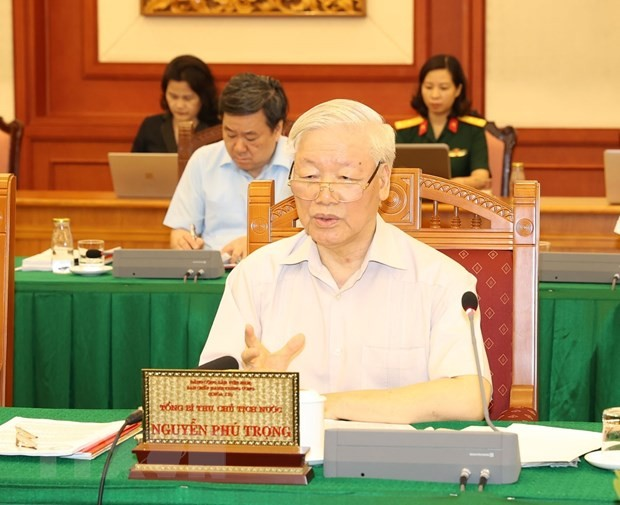 Bộ Chính trị làm việc với Thường vụ Quân ủy Trung ương ảnh 3