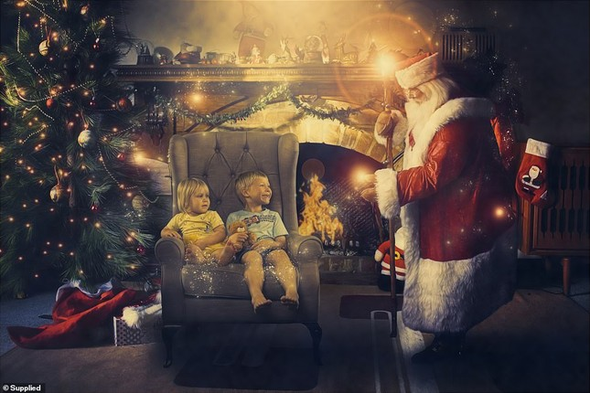 Xúc động bộ ảnh Giáng sinh bên ông già Noel của bệnh nhi giữa mùa COVID-19 ảnh 10